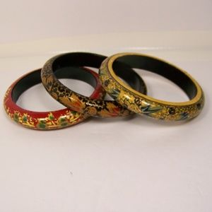 Wood Hand Painted 3 Bangle Bracelets Made in India